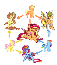 Size: 2300x2600 | Tagged: safe, artist:ogaraorcynder, applejack, fluttershy, rainbow dash, oc, earth pony, pegasus, pony, bubblegum, colored wings, eyes closed, female, food, fusion, fusion diagram, gum, hat, hexafusion, looking at you, looking back, looking back at you, lying, mare, multicolored wings, open mouth, simple background, sitting, smiling, spread wings, white background, wings