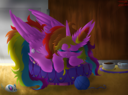 Size: 1024x757   Tagged: safe, artist:vanillaswirl6, oc, oc only, oc:rainbow cloud, alicorn, pony, alicorn oc, art trade, baseboard, behaving like a cat, bowl, carpet, cheek fluff, colored eyelashes, crepuscular rays, cute, door, ear fluff, eyes closed, female, fluffy, mare, mouse toy, pet bed, pet food, placemat, pony pet, prone, sleeping, solo, water, wooden walls, yarn, yarn ball