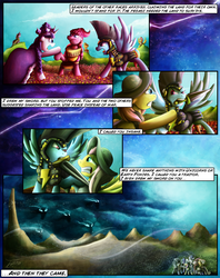 Size: 1935x2449 | Tagged: safe, artist:jamescorck, chancellor puddinghead, clover the clever, commander hurricane, princess platinum, private pansy, smart cookie, earth pony, pegasus, pony, unicorn, windigo, comic:i will never leave you, armor, comic, history, mouth hold, sword, weapon