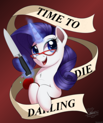 Size: 800x955 | Tagged: safe, artist:ncmares, edit, rarity, pony, unicorn, banner, commission, darling, female, glasses, imminent murder, kitchen knife, knife, magic, mare, needle, open mouth, pincushion, rules of rarity, signature, solo, telekinesis, yandere, yanderity