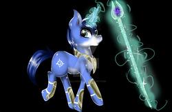 Size: 1024x666 | Tagged: safe, artist:hellcandycz, pony, armor, black background, glowing horn, krystal, magic, ponified, pony only, simple background, staff, star fox, star fox adventures