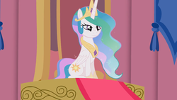 Size: 2208x1242 | Tagged: safe, artist:forgalorga, princess celestia, alicorn, pony, bored, cute, solo, something about the princesses, throne, throne room, youtube link