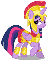 Size: 2332x3000 | Tagged: safe, artist:brony-works, twilight sparkle, alicorn, pony, scare master, armor, armor skirt, athena sparkle, clothes, costume, female, high res, mare, simple background, skirt, solo, transparent background, twilight sparkle (alicorn), vector