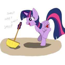 Size: 3000x3000   Tagged: safe, artist:otakuponi, twilight sparkle, alicorn, pony, broom, magic, open mouth, simple background, smiling, solo, sweeping, sweepsweepsweep, telekinesis, twilight sparkle (alicorn), white background