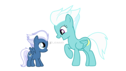 Size: 1280x720 | Tagged: safe, artist:flashimmer, fleetfoot, night glider, pony, cute, female, filly, glideabetes, raised hoof, simple background, sisters, transparent background