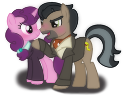 Size: 1543x1200 | Tagged: safe, artist:thefanficfanpony, doctor caballeron, sugar belle, pony, base used, cabelle, crack shipping, female, male, shipping, simple background, straight, transparent background