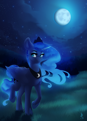 Size: 1000x1400 | Tagged: safe, artist:silentwulv, princess luna, alicorn, pony, ethereal mane, female, forest, full moon, grass, mare, moon, moonlight, night, night sky, sky, solo, starry mane, starry night, stars, walking