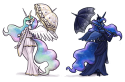 Size: 1954x1280 | Tagged: safe, artist:king-kakapo, princess celestia, princess luna, alicorn, anthro, unguligrade anthro, alicorns only, arm hooves, clothes, dress, duo, duo female, female, hoof hands, jewelry, mare, regalia, royal sisters, spread wings, umbrella, wings