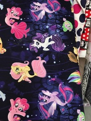 Size: 720x960   Tagged: safe, applejack, fluttershy, pinkie pie, rainbow dash, rarity, spike, twilight sparkle, alicorn, pony, puffer fish, seapony (g4), my little pony: the movie, cute, fabric, irl, mane seven, mane six, merchandise, photo, seaponified, seapony fluttershy, seapony pinkie pie, seapony rarity, seapony twilight, species swap, spike the pufferfish, that pony sure does love being a seapony, twilight sparkle (alicorn)