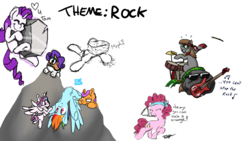 Size: 1920x1080 | Tagged: artist:cutepencilcase, artist:fluffyxai, artist:kaaostonttu, artist:living_dead, drawpile disasters, pinkie pie, pony, princess flurry heart, rainbow dash, raritato, rarity, rock, safe, tom
