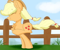 Size: 6000x5000 | Tagged: absurd res, applejack, artist:meowmavi, chest fluff, cloud, cute, ear fluff, eyes closed, fence, jackabetes, pony, running, safe, solo
