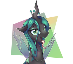 Size: 1700x1506 | Tagged: abstract background, artist:fanch1, changeling, crown, female, horn, jewelry, looking at you, makeup, open mouth, queen chrysalis, regalia, safe, solo, tongue out, wings