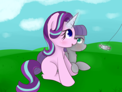 Size: 1600x1200 | Tagged: safe, artist:zlight, maud pie, starlight glimmer, earth pony, pony, unicorn, blushing, chest fluff, colored pupils, ear fluff, female, fluffy, holding hooves, kite, kite flying, leg fluff, lesbian, magic, mare, shipping, smiling, starmaud