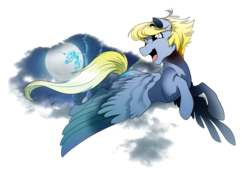 Size: 3507x2480 | Tagged: safe, artist:dormin-kanna, oc, oc only, pony, cloud, commission, flying, full moon, male, moon, open mouth, simple background, smiling, solo, stallion, transparent background