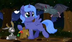 Size: 6888x3968 | Tagged: safe, artist:glitterstar2000, princess luna, alicorn, bat, jackalope, pony, absurd resolution, blank flank, cute, female, filly, lunabetes, night, saddle bag, smiling, stars, tree, woona, younger