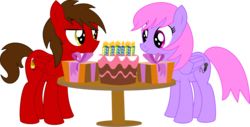 Size: 4089x2084   Tagged: safe, artist:cyanlightning, oc, oc only, oc:chip, oc:melody notes, pegasus, pony, .svg available, absurd resolution, birthday cake, cake, candle, duo, female, folded wings, food, lidded eyes, looking at each other, male, mare, present, simple background, smiling, stallion, table, transparent background, vector