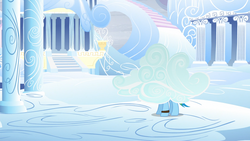 Size: 1920x1080 | Tagged: safe, screencap, rainbow dash, pony, tanks for the memories, camouflage, cloud, cloudsdale, column, disguise, solo, weather factory