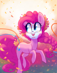 Size: 1088x1400 | Tagged: safe, artist:meekcheep, pinkie pie, earth pony, pony, braid, cute, dia de los muertos, diapinkes, face paint, female, looking at something, makeup, skull, smiling, solo