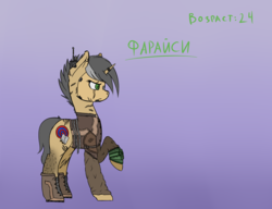 Size: 1192x916 | Tagged: safe, artist:syntiset, oc, oc only, oc:faraisi, pony, unicorn, fallout equestria, clothes, colored sketch, fallout, female, male, mare, pipbuck, reference sheet, russian, sketch, solo