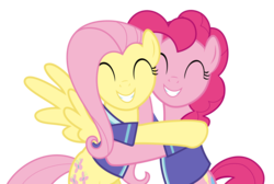 Size: 4472x3000 | Tagged: safe, artist:sollace, fluttershy, pinkie pie, pony, buckball season, .svg available, absurd resolution, buckball uniform, cute, diapinkes, hug, show accurate, shyabetes, simple background, smiling, transparent background, vector