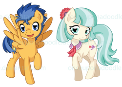Size: 900x639 | Tagged: artist:onceuponadoodle, coco pommel, cocosentry, crack shipping, edit, female, flash sentry, male, pony, safe, shipping, straight