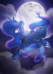 Size: 900x1260 | Tagged: alicorn, artist:drawntildawn, cloud, crown, female, flying, full moon, jewelry, mare, moon, pony, princess luna, regalia, safe, solo, watermark
