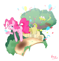 Size: 2222x2294 | Tagged: artist:akainu_pony, balloon, element of laughter, high res, pinkie pie, pony, safe, simple background, smile song, solo, white background