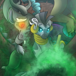 Size: 2048x2048 | Tagged: safe, artist:percy-mcmurphy, discord, zecora, draconequus, zebra, bipedal, cauldron, chest fluff, crack shipping, ear piercing, female, glowing eyes, male, one eye closed, piercing, shipping, smiling, smoke, straight, zecord