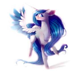 Size: 2000x2000   Tagged: safe, artist:magicalbrownie, oc, oc only, oc:amanda, alicorn, pony, alicorn oc, chest fluff, colored wings, colored wingtips, female, high res, mare, multicolored wings, simple background, solo, white background