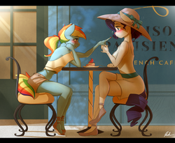 Size: 3105x2550 | Tagged: safe, artist:captainpudgemuffin, rainbow dash, rarity, unicorn, anthro, plantigrade anthro, :o, anklet, backless, blushing, boop, breasts, cafe, cake, captainpudgemuffin is trying to murder us, chair, clothes, commission, crossed legs, cup, cute, dashabetes, delicious flat chest, dress, eye contact, female, flats, flirting, food, foodplay, frosting, grin, hair bun, hat, lesbian, lidded eyes, looking at each other, mare, midriff, off shoulder, open mouth, ponytail, rainbow flat, raribetes, raridash, sandals, shipping, short dress, shorts, sitting, smiling, smirk, sun hat, sundress, surprised, sweet dreams fuel, table, teacup, wall of tags, wide eyes, wingless anthro