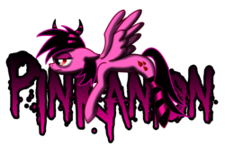Size: 2050x1500 | Tagged: safe, artist:pinkanon, oc, oc only, oc:pinkanon, pegasus, pony, clothes, female, horns, logo, simple background, socks, solo, striped socks, transparent background