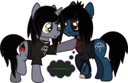 Size: 1428x927 | Tagged: safe, artist:lightningbolt, derpibooru exclusive, earth pony, pony, undead, unicorn, zombie, zombie pony, .svg available, amazed, angry, annoyed, blood, bloodshot eyes, bone, bring me the horizon, chipped tooth, clothes, colored pupils, disguised siren, drop dead clothing, duo, duo male, electrocardiogram, emo, fangs, flatline, frown, glasgow smile, hair over one eye, horn, jewelry, kellin quinn, long sleeves, looking down, male, messy mane, messy tail, necklace, nosebleed, oliver sykes, open mouth, peeling flesh, ponified, pulled up sleeve, rainbow blood, raised hoof, raised leg, scar, shirt, simple background, sleeping with sirens, slit eyes, stallion, standing, stitches, story included, svg, t-shirt, tattered, tattoo, thought bubble, torn clothes, torn ear, touch, transparent background, trap, vector