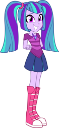 Size: 1450x3099 | Tagged: safe, artist:namygaga, oc, oc only, oc:melody sound, pony, arm behind back, boots, clothes, cute, female, grin, looking at you, magical lesbian spawn, next generation, offspring, parent:aria blaze, parent:sonata dusk, parents:arisona, pigtails, pleated skirt, shoes, simple background, skirt, smiling, sneakers, solo, transparent background, twintails