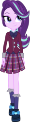 Size: 3000x12157 | Tagged: safe, artist:aqua-pony, vector edit, starlight glimmer, equestria girls, friendship games, absurd resolution, clothes, crystal prep academy uniform, cute, pleated skirt, school uniform, shoes, simple background, skirt, smiling, socks, solo, transparent background, vector
