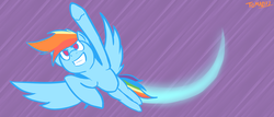 Size: 1280x549 | Tagged: safe, artist:tomazii7, rainbow dash, pegasus, pony, 30 minute art challenge, flying, solo, spread wings, trail, wings
