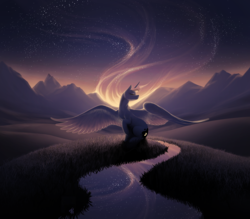 Size: 3023x2646 | Tagged: safe, artist:katputze, princess luna, alicorn, pony, beautiful, eyes closed, female, high res, mare, mountain, outdoors, raised hoof, river, scenery, sitting, solo, spread wings, stars, twilight (astronomy), wings