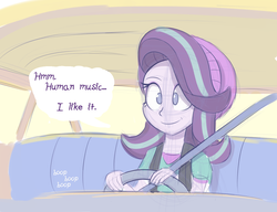 Size: 1300x1000 | Tagged: safe, artist:heir-of-rick, starlight glimmer, human, equestria girls, mirror magic, spoiler:eqg specials, beanie, car, clothes, colored sketch, driving, female, hat, jerry smith, music, parody, rick and morty, shirt, simulation, smiling, solo, speech bubble