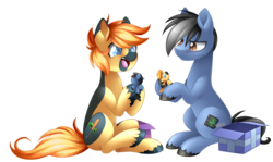 Size: 4500x2682 | Tagged: safe, artist:scarlet-spectrum, oc, oc only, oc:yaktan, pony, absurd resolution, birthday gift, duo, open mouth, playing, present, simple background, sitting, toy, transparent background