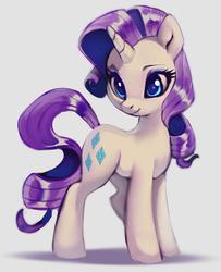 Size: 770x948 | Tagged: safe, artist:imalou, rarity, pony, unicorn, cute, female, gray background, mare, raribetes, simple background, smiling, solo