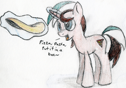 Size: 1200x841 | Tagged: artist:itsthinking, colored, derpibooru exclusive, food, magic, male, oc, oc:binyot pizzapasta, oc only, open mouth, pizza, pony, safe, simple background, singing, stallion, traditional art, unicorn, white background