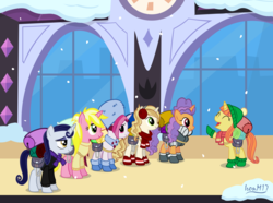 Size: 6873x5102 | Tagged: safe, artist:ironm17, cayenne, citrus blush, moonlight raven, pretzel twist, sunshine smiles, sweet biscuit, pony, absurd resolution, backpack, beanie, boots, canterlot, clothes, earmuffs, eyes closed, female, group, happy, hat, jacket, mare, scarf, shoes, short-sleeved jacket, smiling, snow, snowfall, snowflake, sweater, train station, winter, winter outfit