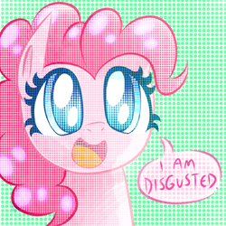 Size: 1000x1000 | Tagged: safe, artist:siggie740, pinkie pie, earth pony, pony, abstract background, colored pupils, disgusted, dissonant caption, female, mare, smiling, solo, speech bubble, subversive kawaii, text