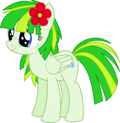 Size: 7158x7332   Tagged: safe, artist:cyanlightning, oc, oc only, oc:green lightning, pony, .svg available, absurd resolution, flower, flower in hair, folded wings, simple background, solo, transparent background, vector