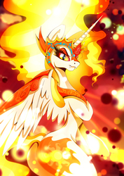Size: 1358x1920 | Tagged: safe, artist:rariedash, daybreaker, alicorn, pony, a royal problem, daybutt, fangs, female, helmet, looking at you, mare, plot, solo