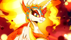 Size: 1920x1080 | Tagged: safe, artist:rariedash, daybreaker, alicorn, pony, a royal problem, fangs, female, helmet, looking at you, mare, solo, wallpaper
