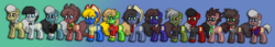 Size: 1212x210 | Tagged: bowtie, clothes, crossover, doctor who, doctor whooves, eighth doctor, eleventh doctor, fifth doctor, first doctor, fourth doctor, necktie, ninth doctor, pixel art, pony, pony town, regeneration, safe, scarf, second doctor, seventh doctor, sixth doctor, tenth doctor, third doctor, time turner, tom baker's scarf, twelfth doctor, war doctor