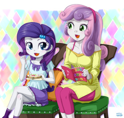 Size: 1200x1140 | Tagged: safe, artist:uotapo, rarity, sweetie belle, equestria girls, age swap, blushing, book, clothes, cute, diasweetes, female, hairband, older, open mouth, pants, raribetes, role reversal, sewing, shirt, siblings, singing, sisters, sitting, skirt, smiling, uotapo is trying to murder us, younger