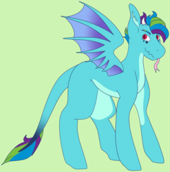 Size: 3424x3472 | Tagged: safe, artist:midnight-drip, oc, oc only, oc:cerulean, dracony, hybrid, high res, magical lesbian spawn, male, offspring, parent:princess ember, parent:rainbow dash, parents:emberdash, solo