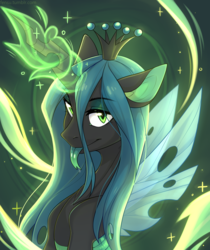Size: 3360x4000 | Tagged: safe, artist:fensu-san, queen chrysalis, changeling, changeling queen, bust, cute, cutealis, female, forked tongue, green tongue, high res, looking at you, magic, portrait, solo, tongue out