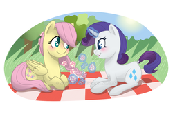 Size: 1024x691 | Tagged: safe, artist:seishinann, fluttershy, rarity, pony, blushing, braid, braiding, deviantart watermark, female, flarity, flower, flower in hair, folded wings, glowing horn, lesbian, looking at each other, magic, obtrusive watermark, picnic blanket, prone, shipping, smiling, watermark